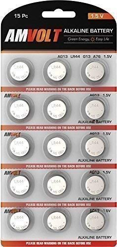 15 Pack LR44 AG13 A76 Battery - [Ultra Power] Premium Alkaline 1.5 Volt Non Rechargeable Round Button Cell Batteries for Watches Clocks Remotes Games Controllers Toys & Electronic Devices (15 Pack)