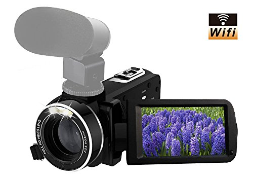 "Camcorder Full HD 1080p 30fps Video Camera Support Shotgun Microphone Wifi Camera 3"" Touch Screen 16x Digital Zoom"