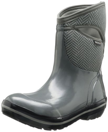 Bogs Women's Plimsoll Mid Herringbone Waterproof Insulated Boot, Gunmetal
