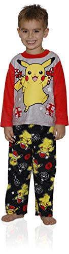 Pokemon Boys' Big Pikachu Holiday 2-Piece Fleece Pajama Set, Pikachu Cheer, 10