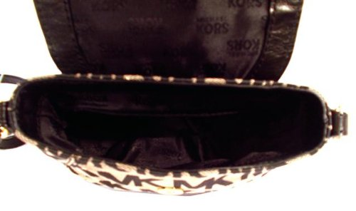 Michael Kors MK Logo Small Flap Jacquard Crossbody Black & Beige