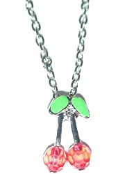 Adorable RED Cherry Necklace w/ Long Silver Tone Lobster Claw Adjustable Chain Women's Jewelry
