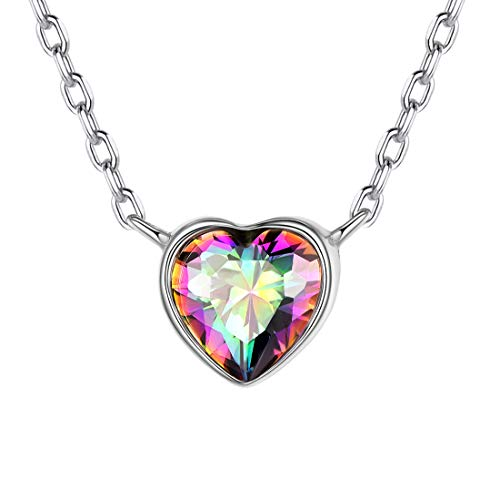 925 Sterling Silver Heart Necklace Colorful Topaz CZ Love Heart Pendant Necklace Fashion Dainty Jewelry for Women Girls Her Dainty Sterling Silver Jewelry