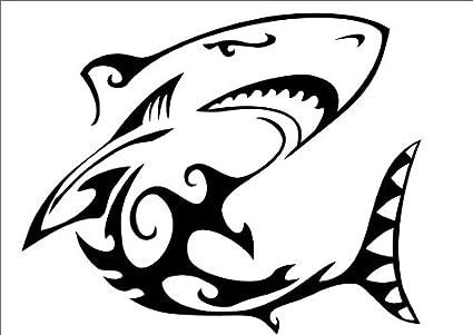 Los tiburones cabeza con un tatuaje tribal, vinilo adhesivo ...