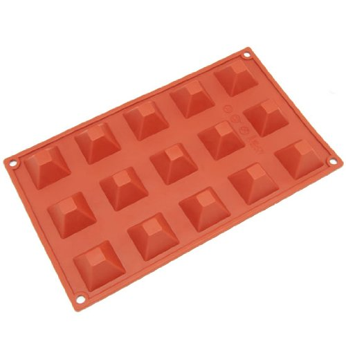 Freshware SM-101RD 15-Cavity Silicone Mini Pyramid Chocolate, Candy and Gummy Mold (Silicone Pyramid Mold)