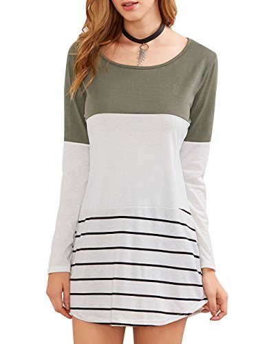 Women's Back Lace Color Block Tunic Tops Long Sleeve Striped T Shirt Hem Blouses