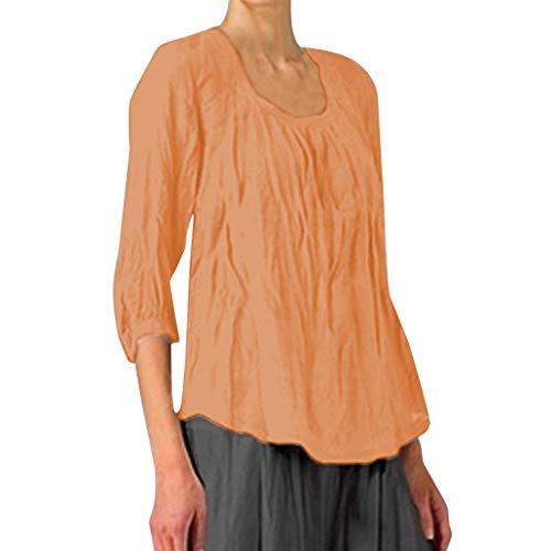 Plus Size Irregular Hem Shirt, QIQIU Womens O-Neck Solid Casual Loose Not Wrinkled Short T-Shirt Tops Orange