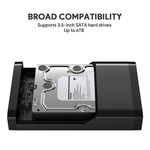 AUKEY 3.5'' Hard Drive Enclosure, SATA to USB 3.0 Aluminium Hard Drive Case Supports UASP and 6TB Drives for 3.5-Inch HDD and SSD, Tool-Free by AUKEY (Image #3)