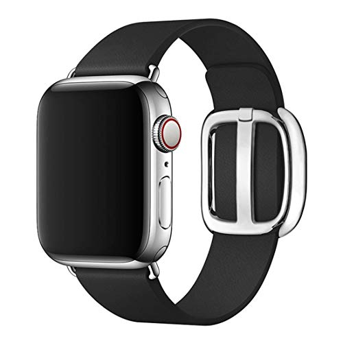 CHEEDAY Soft Leather Band Modern Buckle Magnetic Clasp iWatch Strap Replacement Compatible with Apple Watch Series 4/3 / 2/1 Sports & Edition 38mm 40mm - Black