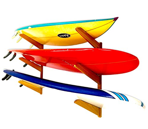(StoreYourBoard Timber Surfboard Wall Rack, Holds 3 Surfboards, Wood Home Storage Mount System, Natural )