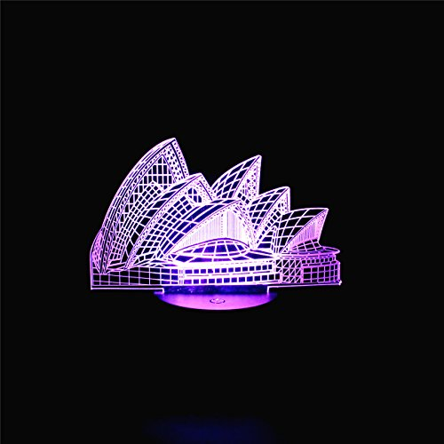 [3D Illusion LED Lamps Gifts Sydney Opera House Desk Lamp with 7 Colors Touch Flashlights for Family Decoration] (Real Fx Masks)