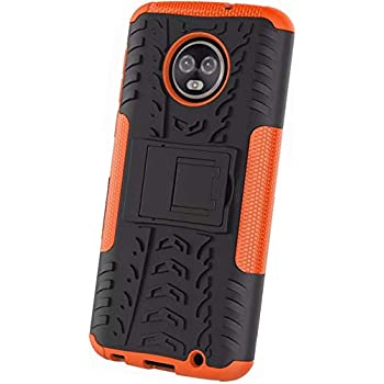 Yuanhuiheng Moto G6 Plus Case, Rugged and Shockproof Case Double Armor Combination Cover, use PC+TPU Material Built-in Bracket Compatible Moto G6 Plus(Orange)