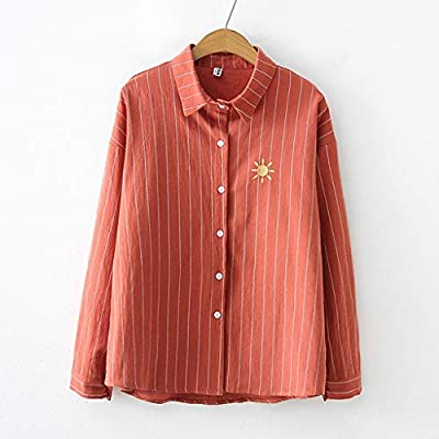 SMILEQ Camisa de Solapa a Rayas de Moda de Las Mujeres Top Impresión de Manga Larga Blusa Suelta (XL, Rojo): Amazon.es: Deportes y aire libre