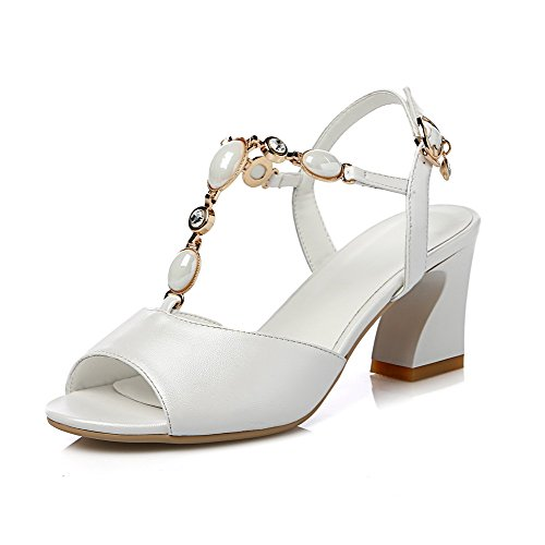 AgooLar Women's High-Heels Solid Buckle Open Toe Sandals White gxdzDBdxj
