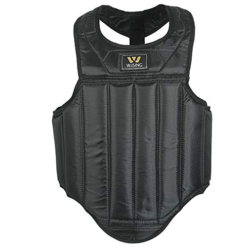 Martial Arts Muay Thai Boxing Chest Protector By Wesing (Black, Small(59in~63in,105.6lb~114.4lb)) ()