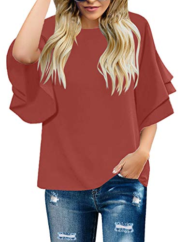 Ruffle Blouse Shirt Top - luvamia Women's Casual 3/4 Tiered Bell Sleeve Crewneck Loose Tops Blouses Shirt Tea Rose Size S
