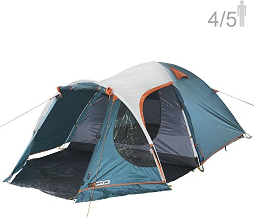 NTK INDY GT 4 to 5 Person 12.2 by 8 Foot Outdoor Dome Family Camping Tent 100% Waterproof 2500mm, European Design, Easy Assembly, Durable Fabric Full Coverage Rainfly - Micro Mosquito Mesh. ()