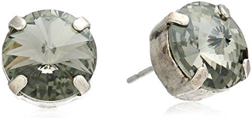 Sorrelli Essentials Black Diamond Round Crystal Stud Earrings