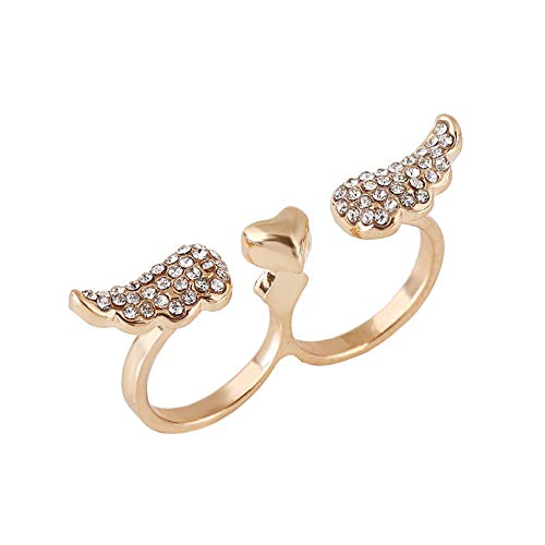 yakangda Two Finger Rings Fashion Womens Gothic Gold Plated Crystal Wing Heart Double Finger Ring Gold (Designer Double Crystal Heart)