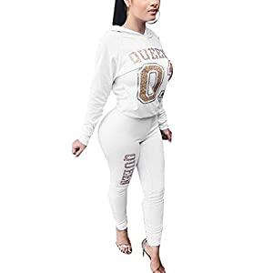 Akmipoem Women Tracksuit Letter Print 2 Piece Outfit Hooded Sweatshirt and Skinny Pants Set