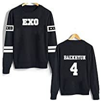 YKC Kpop EXO All the Members Varsity Unisex Sweatshirt Black