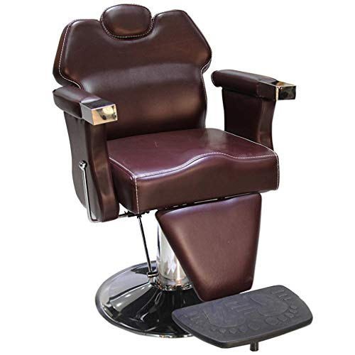 Barber Chair DIOE European-Style Thickening, Lifting Tattoo Chair, Rotatable Salon Chair, Can Be Put Down Beauty Chair (Black and Brown)