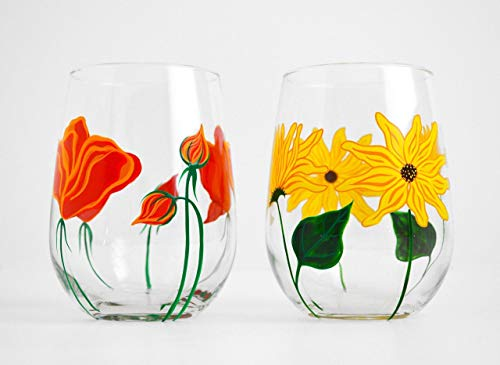 Sunflower and Poppy Stemless Wine Glasses - Set of 2 Hand Painted Wine Glasses, Mother's Day