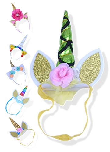 Unicorn Headband for Girls - Unicorn Horn Party Hat for Toddlers, Kids or Baby Girl Birthday Party Costume (Elastic Shiny Gold Green Flower (Party Fiesta Halloween Costumes)