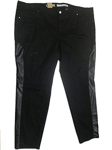 DKNY Jeans Women's Plus Size Faux Leather Pieced Legging in Noir Noir 24W 32 - Dkny Leather Jeans