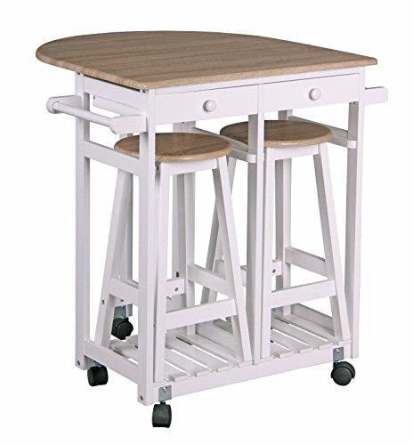- Oak White Kitchen Island Trolley 2 Bar Stools, 2 Drawers