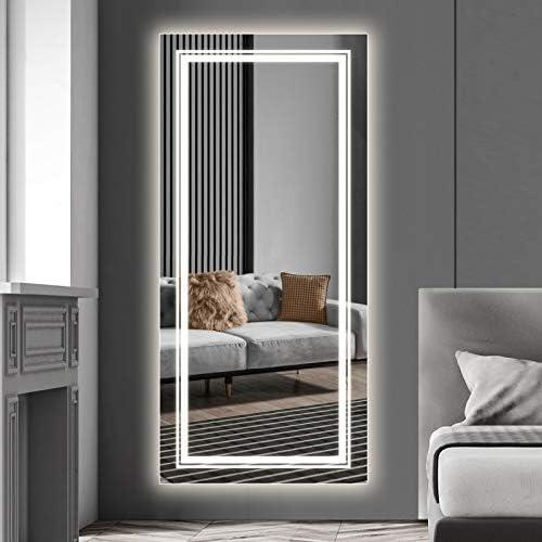 Qimh LED Body Mirror,47×22 LED Bathroom Vanity Full Length Mirror 79″ Cable 3 Prong Plug,Backlit Dressing Mirror,Rectangle LED Mirror