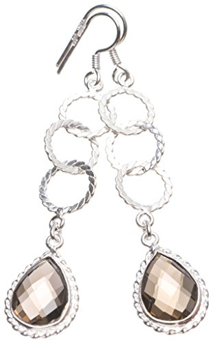 StarGems(tm) Natural Smoky Quartz Handmade Unique 925 Sterling Silver Earrings 2 3/4