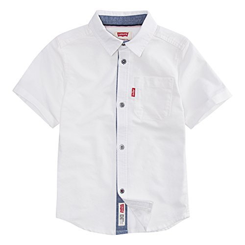 Levi's Big Boys' Short Sleeve Button up Shirt, Cloud Dancer, M Button Up Shirt Jeans
