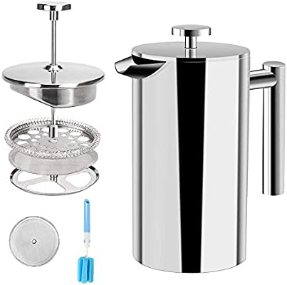 Amazon.com: French Press Coffee Maker Stainless Steel Double ...