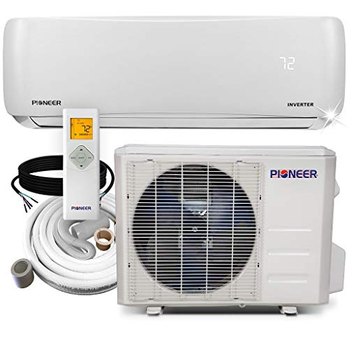 Pioneer WYS012-17 Air Conditioner Inverter+ Ductless Wall Mount Mini Split System Air Conditioner & Heat Pump Full Set, 12000 BTU 115V (Best Home Air Conditioning Units)