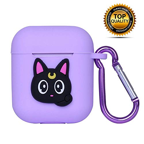 MODISH TECH Airpods Case Cover Cute Cartoon Design with Keychain | Protective Premium Silicone Anti-Lost Dust-Proof & Shock Resistant | Purple
