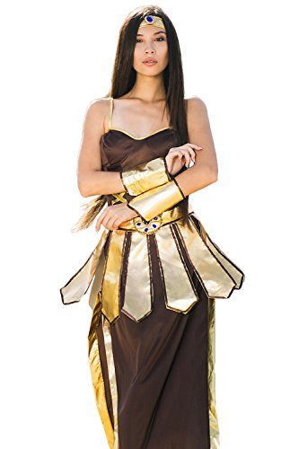 Greek Olympian Costume (Adult Women Trojan Warrior Costume Cosplay Gladiator Role Play Ancient Dress Up (Small/Medium, Brown, Gold, Blue))