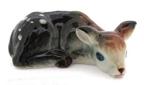 3 D Ceramic Toy Deer 2 Dollhouse Miniatures Free Ship (Mini Gazing 3 Set Globes Of)