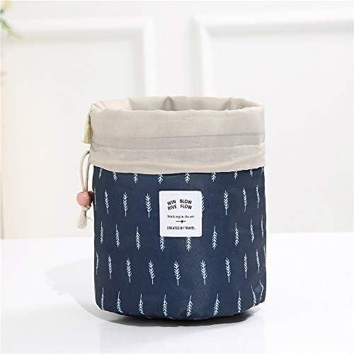 トラべラブ圧縮バッグ オックスフォード布旅行収納袋カラーシリンダー化粧品袋引きロープ(色:ピンクストライプ) トラベルポーチ 出張 旅行 便利グッズ (Color : Navy, Size : Free size)