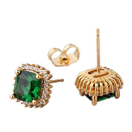 ODETOJOY Simulated Emerald Earrings Yellow Gold Stud Cuff Earring Crsystal Sqaure Zircon Fashion Earring for Women with Box Cuff Yellow Ring