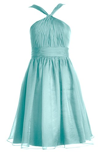 MACloth Cocktail Short Bridesmaid Knotted Women Party Gown Chiffon Turquoise Dress Formal rqCHr7w