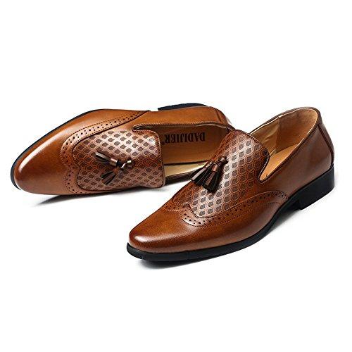 Jiuyue-shoes, 2018 Scarpe da uomo d'affari da uomo Cuoio traspirante in pelle sintetica impreziosita Slip-on Oxfords per signori Scarpe Uomo Pelle (Color : Nero, Dimensione : 39 EU) Marrone