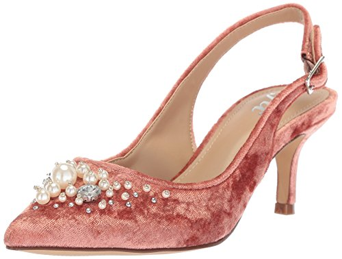 (The Fix Women's Felicia Slingback Kitten Heel Pump with Pearls, Sorbet Crushed Velvet, 7 B US)