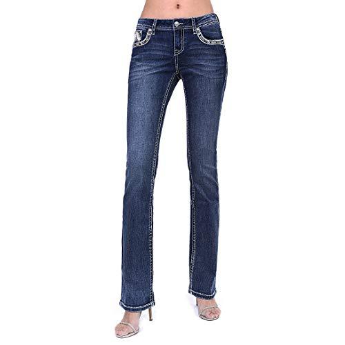 Grace in LA Women's Dark Wash Embellished Junior Fit Bootcut Jeans | JB-S186-32 - Size 30 Blue