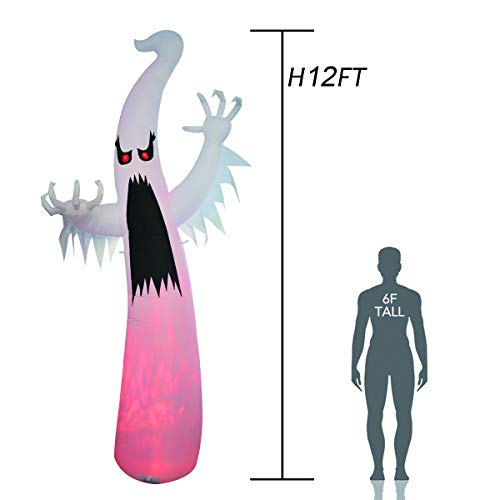 GOOSH 12 Foot Tall Halloween Inflatables Blow Up White Ghost with Hand-held Light for Inflatables Halloween Outdoor Yard Decoration Halloween Inflatable White