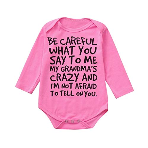 Iuhan  Baby Romper Shirts, Be Careful What You Say Toddler Newborn Romper Long Sleeve Baby Girls Boys Shirts Jumpsuit Cute Casual Clothes (18-24Months, Hot Pink)]()