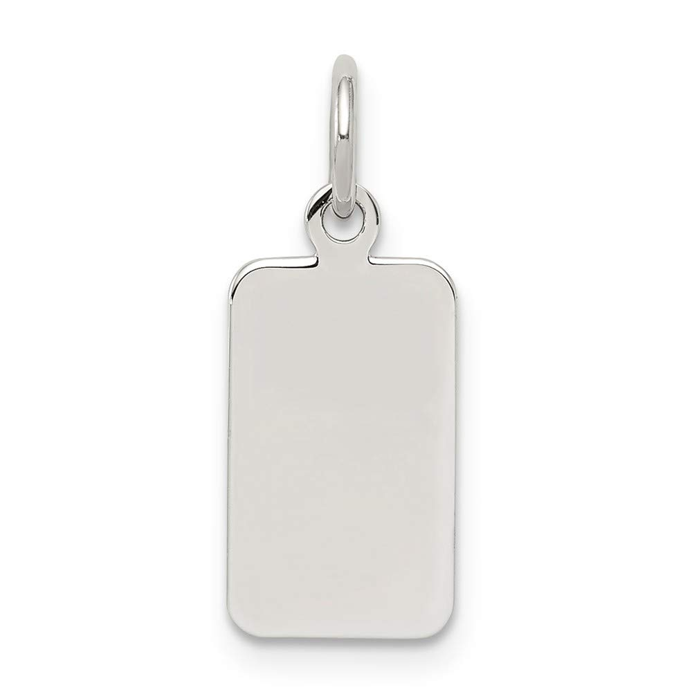Solid 925 Sterling Silver Engraveable Rectangle Polished Front//Satin Back Disc Pendant Charm 8mm x 19mm