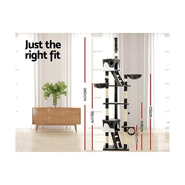 Cat Scratching Tree Post Sisal Pole Condo House Furniture Multi level Grey 260cm 7