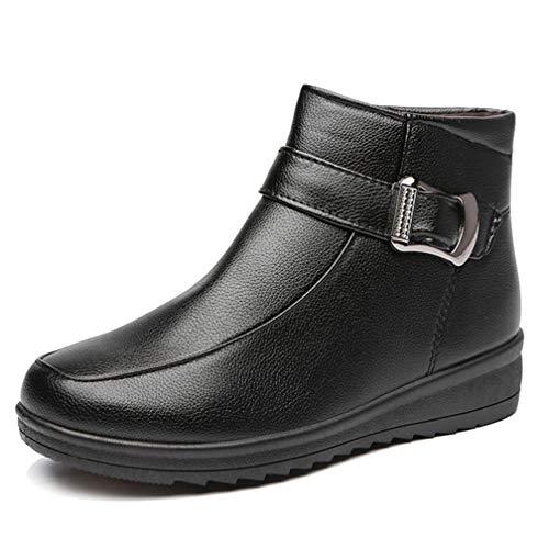ChyJoey Women's Winter Warm Fur Ankle Boots Flat Low Heel Leather Zipper Platform Round Toe Short Booties Black