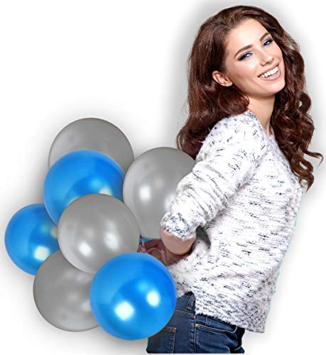 Treasures Gifted 4th of July Party Kit Royal Blue and Silver Balloons 72 Pack Metallic Latex and 65 Yards Curling Ribbons for Birthday Graduation Wedding Retirement Party Decorations ()